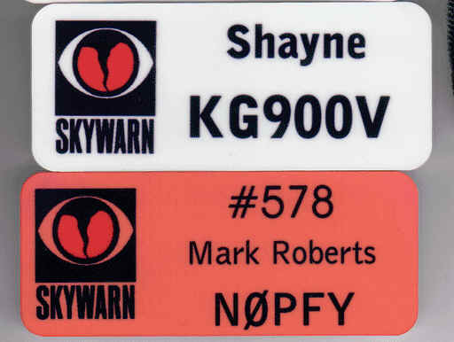 Sublimation Skywarn Name Tags